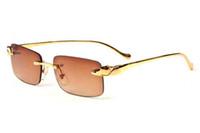 soportes de oro al por mayor-Gafas de diseñador de marca ordinarias para hombres gafas de sol sin montura gafas de sol polarizadas de búfalo gafas de metal de oro plata soporte de múltiples colores