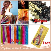 Wholesale Loop Hair Extensions Wholesale - Wholesale-100pcs 16'40cm Women Long Straight Grizzly Micro Loop Ring Feather Hair Extensions+ 200 Beads+ 1 Hook+1 plier kit