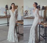 Wholesale Cheap Short Casual Wedding Dresses - Vintage Lace Applique Mermaid Long Sleeve Wedding Dresses 2017 Lihi Hod Covered Button Elegant Casual Beach Boho Bridal Wedding Gowns Cheap