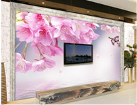Wholesale Cherry Blossom Papers - Top Classic 3D European Style TV backdrop pink cherry blossoms mural 3d wallpaper 3d wall papers for tv backdrop