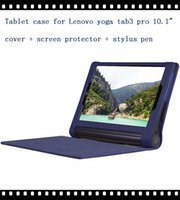 "Wholesale Table Case Inches - Wholesale- High quality pu leather case cover for Lenovo Yoga tablet 3 pro 10"" table case for lenovo yoga3 pro 10 inch case +film +pen"