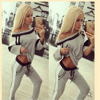 Wholesale Wholesale Basketball Clothing Sports - New Women Tracksuits Fashion Stitching Sports Suit Clothes Sets Casual Sweater Coat Hot Sweater Stitching Sports Suit