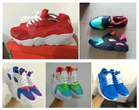 Wholesale Running Shoes For Men Cheaper - Cheaper Air Huarache II Sky Blue Rainbow Red White Inkjet Running Shoes For Men Women, Lightweight Huaraches Athletic Sport Trainers Shoes