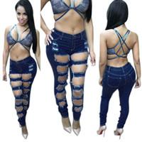 Wholesale Wholesale Stretch Womens Jeans - Wholesale- New 2016 Hot Fashion Ladies High Waist Denim Pants Womens Stretch Ripped Skinny Jeans Denim Jeans Sexy Hole Pencil Pants