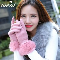 Wholesale Cashmere Rabbit Gloves - Wholesale- Brand Fashion Winter Ladies Cashmere Wrist Gloves Female Rabbit Fur Wool Mittens Sweet Elegant Warm Sensory Gloves for Women
