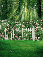 Wholesale flowering trees photos - Spring Flower Garden Backgrounds Green Grassland White Fence Floral Backdrop Forest Trees Kids Children Scenic Photo Backdrops