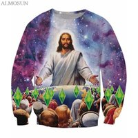 Wholesale Galaxy Crewneck Sweatshirts Men - Wholesale-ALMOSUN Jesus Crewneck Sweatshirts Galaxy Space 3D Print Men Outfits Sweats Jumper Top Fashion Plus Size