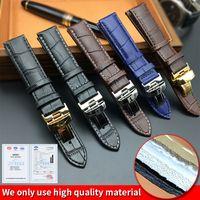 pulseiras de nylon pulseiras de relógio 22mm venda por atacado-Pulseira de relógio para Tissot PRC200 T17 T41 T41 T049 19mm Prata Borboleta Fivela Pulseira de Couro Genuíno Bandas de Relógio 18mm 20mm 22mm