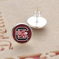 Wholesale Stud Earring Sports - 10Pairs Charm Sports Team NCAA South Carolina Glass Stud Earrings Pendant Earrings For Women Jewelry Gift