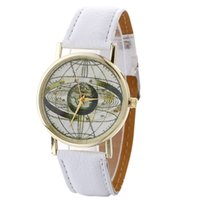 Wholesale Casual Earth Fashion - Unisex mens women leather earth Milky Way printing watch fashion 2017 new wholesale casual ladies students party wrist watches