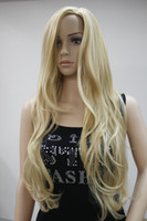 Wholesale Blonde Wig Skin - Hivision New Fashion No Bangs Side Skin Part Top Women's Golden Blonde Mix Long Curly Wavy Wig free shipping