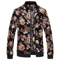 homens korean jaquetas longas venda por atacado-Atacado-Bomber Jacket Men Outono New Men Floral Jackets Hot Coreano Slim Fit manga comprida homens casacos gola Mens roupas blusão