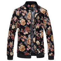 Wholesale New Bomber Jacket - Wholesale- Bomber Jacket Men Autumn New Men Floral Jackets Hot Korean Slim Fit Long Sleeve Men Coats Stand Collar Mens Clothes Windbreaker