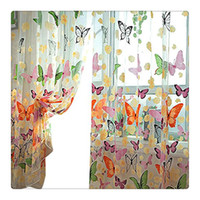 Wholesale Door Curtains Butterfly - Hot selling!!200cm x 100 cm Butterfly Print Sheer Window Panel Curtains Tulle Panel Sheer Curtains Room Divider New for living room bedroom