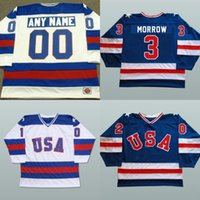 Wholesale Polyester Bobs - 1980 USA Custom Hockey Jerseys 3 Ken Morrow 16 Mark Pavelich 20 Bob Suter Men's 100% Stitched Team USA Throwback Hockey Jersey Blue White