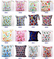 Wholesale Drying Laundry - Wet Dry Bag Laundry Waterproof diaper bag Double Zippered Cloth Diaper Bags Wet Swimsuit Bag Animal Printed by Melee Zigzag WetBag 36*28cm