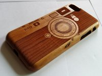 Wholesale Cherry Hard Wood - Genuine Real Natural Wood Wooden Bamboo Hard Case For iPhone 6 iPhone 6 Plus iPhone 7 iPhone 7 Plus Camera M9 Design on Cherry Wood