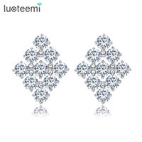 Wholesale Korean Clover Earrings - LUOTEEMI New Brincos Fashion Korean Simple Clover Earring White Gold-Color Stud Earrings for Women Wholesale High Quality