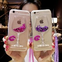Wholesale Bling Glasses Case - Liquid Quicksand Bling Rhinestone Wine Glass Pattern Phone Case with Hang Rope For iPhone 7  7 Plus,  6 6s   6 6s Plus,Samsu
