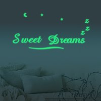 Wholesale Dreams Chinese - 40x57cm PVC Sweet Dreams pattern wall sticker luminous luminous stickers kids room bedroom marriage room living room TV sofa backdrop