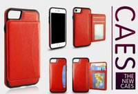 Wholesale Iphone Cover Id - For iPhone 5S 6 6S 7 PlusFitted Case Wallet Case Card Pocket Wallet Case Leather Back Cover with ID Credit Card Slot Holder