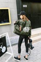 chaquetas baseball mulher venda por atacado-Moda Primavera Queda Simples jaqueta bomber mulheres Casuais Blusão Zipper mulheres de beisebol casacos básicos femininachaquetas mujer