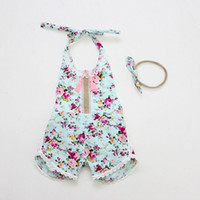 Wholesale Infant Headbands Retail - Retail 2017 Summer Toddler Girls Romper Floral Print Baby Girl Ruffle Jumpsuits With Headband Princess Infant Kids Overalls 7119