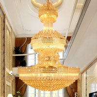 Wholesale Hanging Touch Lamps - LED Modern Crystal Chandeliers Gold Chandelier Lighting Fixture Warm White Neutral White Cool White 3 Colors Dimmable Long Hanging Lamps