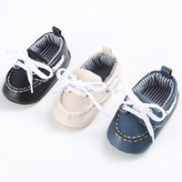 lacets de chaussures pour enfants en gros achat en gros de-Vente en gros - KLV Comfy Fashion Shoe Canvas Boy Girl Baby Girl Or Boy Lacing Sneaker en cuir Antidérapant Hot Sale Enfants Soft Sole Toddler