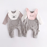 Wholesale Wholesale Baby Jumpsuits - 2017 Fall Winter Newborn Baby Girl Cute Kawaii Cats Romper Long Sleeve Cape Collar Animal Toddler Kids Jumpsuit Clothes 3-24M