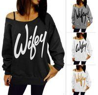 Wholesale Plus Size Upper Garments - Hot! ! Sexy 2016 plus size women jerseys letters printed shoulder Sudaderas women long sleeve turtleneck sweater hat unlined upper garment