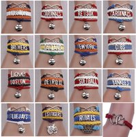 Wholesale Infinity Love Pcs - 10 pcs lot Infinity Bracelets Woven Lether Letter Pendant Hand Chain Love Baseball Team Multilayer Adjustable Bracelet Jewelry Accessories