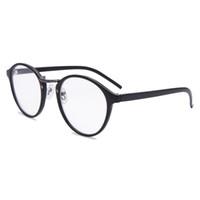 lunettes de lecture encadrées noires achat en gros de-Cadre rond lunettes de lecture unisexe printemps charnière lecteurs élégants hommes femmes noir en plastique de style rétro