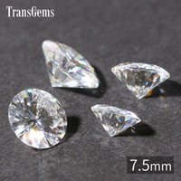 Wholesale Loose Natural Round Diamonds - Wholesale- TransGems 7.5mm 1.5 Carat Certified EF Colorless Moissanite Loose Lab Diamond Gemstone Test as Real Diamond Round Brilliant Gem