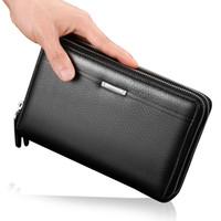 Wholesale Wallet Men Leather Large - 2017 New Business Men Wallets Long PU Leather Cell Phone Clutch Purse Handy Bag Black Top Zipper Large Wallet Purse