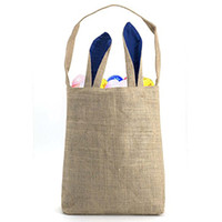 Wholesale Egg Baskets - Easter Bunny Bag - Easter Basket Tote Handbag - Dual Layer Bunny Ears Design Jute Cloth Material - for Carrying Eggs Gifts to Easter Party