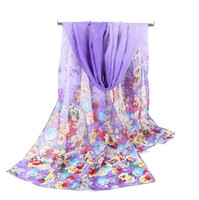 Wholesale cheap women scarfs - Factory Cheap fashion design butterfly floral printing chiffon scarves women spring and autumn long silk scarves ladies wild shawls warm hij