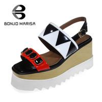 Wholesale Sweet Platform Wedge Heels - BONJOMARISA Geometric 2017 Summer Cow Leather Ankle Strap Sandals Platform Sweet High Wedges Women Shies For Leisure Size 34-39