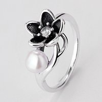 Band Rings black freshwater pearls - Authentic Sterling Silver Ring Black Enamel Floral With Freshwater Pearl Rings Compatible With Pandora Jewelry HRA0223