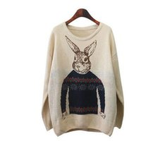 Wholesale women winter long coats cheap - Wholesale- Spring Winter Warm Rabbit Printing Casual Sweater Coat Female Korean Pullovers Long-sleeved Knitted Cheap Clothes