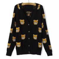 Wholesale Cute Womens Sweaters - Wholesale- New 2015 Womens Fall Fashion Cute Bear Jacquard Casual Cardigan Sweater European Autumn Style Cartoon Sueter Feminina