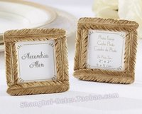 Wholesale wholesale photo frames favors - wedding favor and wedding gift--Newest Style Resin Gold Feather Frame Baby shower Favors Photo Frame 100pcs lot