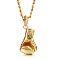 Wholesale Stainless Steel Bikers Chain - New Design Sports Style Jewelry Gifts Mens Gold Biker stainless steel Shiny boxing gloves 50mm*24mm Pendant Necklace 22''