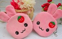 Wholesale Strawberry Beauty - Wholesale- 10PCS Kawaii Strawberry Rabbits Coin Purse & Wallet Pouch Case BAG ; Mini Pendant Bags Pouch Beauty Holder BAG Women Handbag