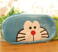 Wholesale Doraemon Pen Pencil - Wholesale- CUTE Doraemon 20CM Pen Pencil Plush BAG Pouch ; 10CM Coin BAG Purse Women Handbag Pocket Wallet Pouch BAG