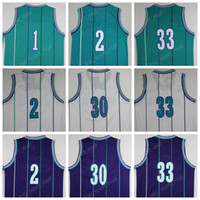 Wholesale Rice Toppings - Top Quality Retro Basketball Jerseys 1 Tyrone Muggsy Bogues 30 Dell Curry 33 Alonzo Mourning 41 Glen Rice 2 Larry Johnson with player name