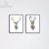 Wholesale custom framed art - 2 Panel Wall Art Prints Painting Animal Deer Modular Pictures on the Wall Custom Canvas Prints Wall Decor for Living Room