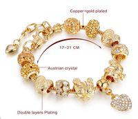 gold armband fußkettchen großhandel-stilvolle Goldarmbänder für kc überzogene Schmucksachen, Herzanhängercharme-Armband-Fußkettchen, Goldarmbänder für reizend Frauen