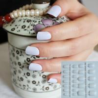 Wholesale Tips Nails Short Wrap - Wholesale-Shiny Face Pure White Fashion 24 Pcs Sweet Candy Short Artificial False Fake Nails Full Wrapped Tips #W