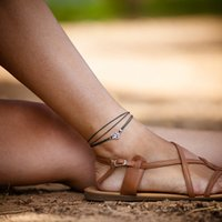 Wholesale Shoes Ankle Bracelet - Simple Bohemia Om Anklets For Women Yoga Ankle Bracelet With Rope Chains Gypsy Sandals Brides Shoes Barefoot Beach Foot Chains